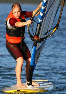 Simon's first windsurfing lesson!