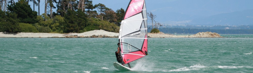 Windsurfer blasting at Nelson Watersports