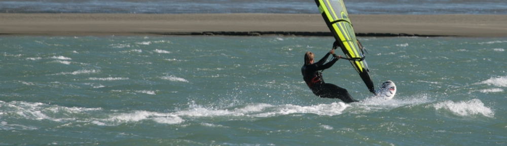 Suze blasting at Back Beach Tahunanui
